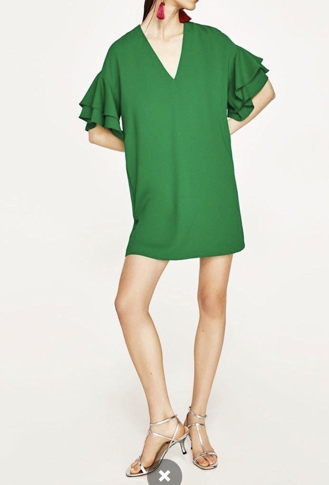 grön klänning zara