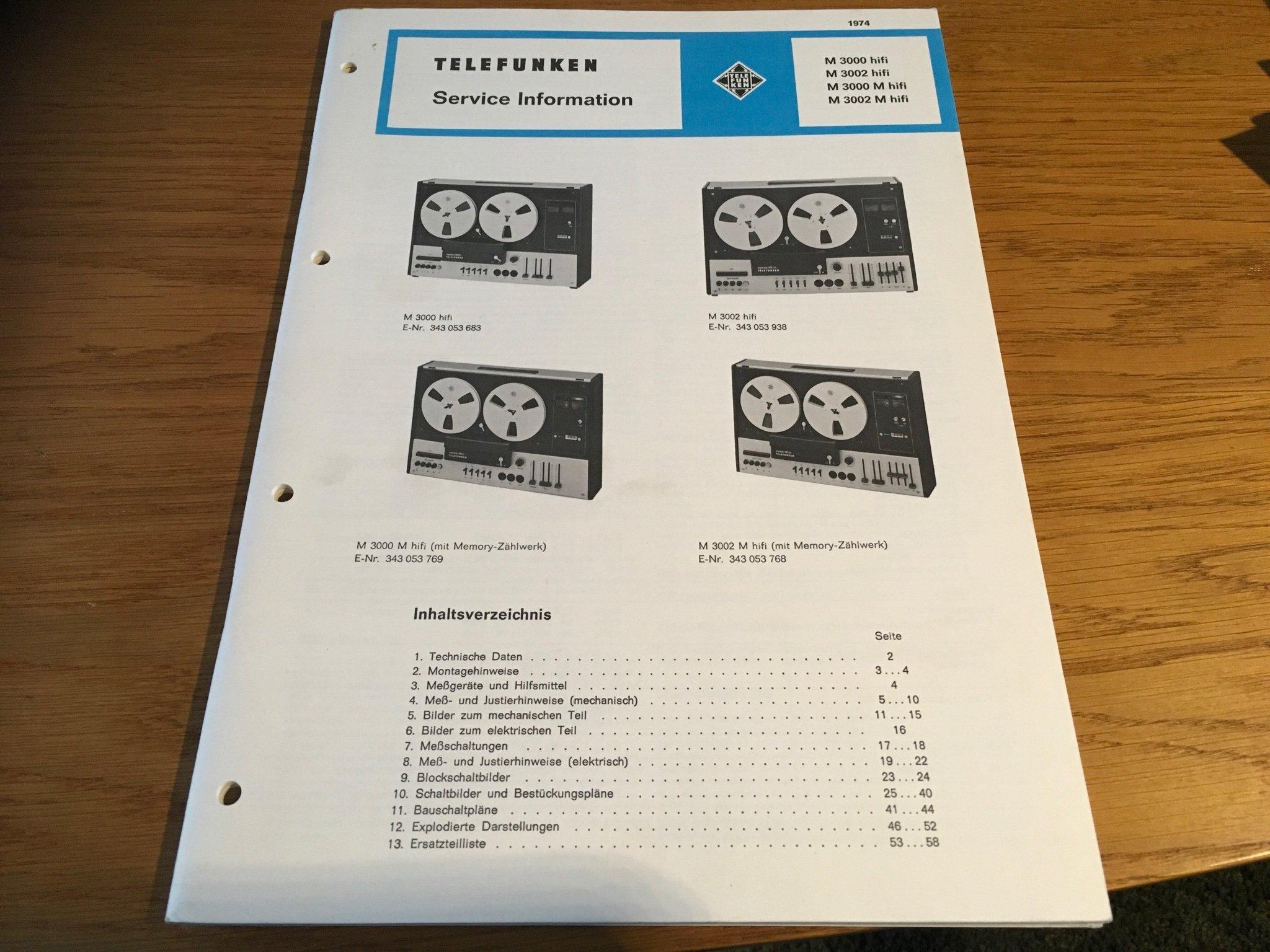 Service Manual  Telefunken Rullbandspelare M 30   (352366498) ᐈ Köp