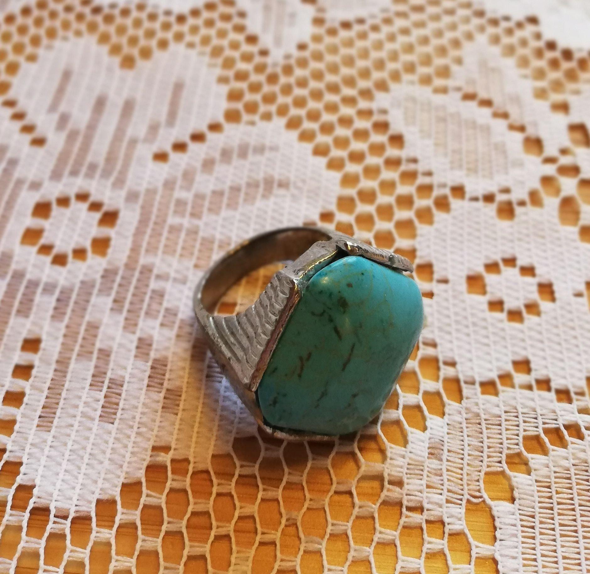 silverring med turkos sten