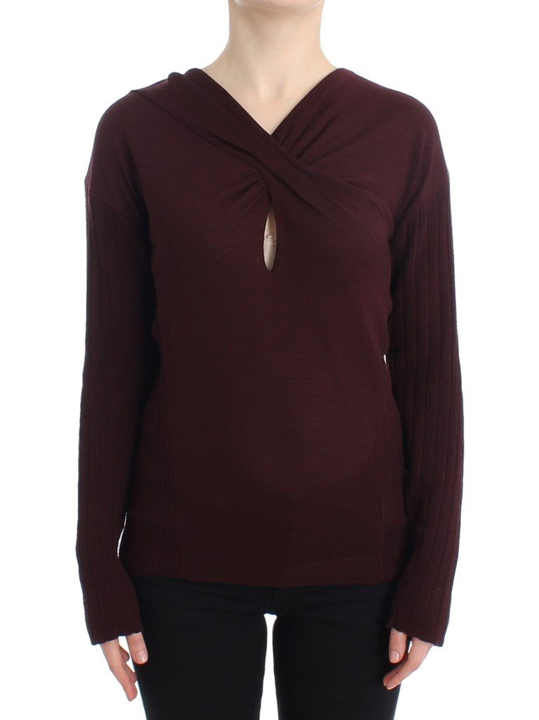Cavalli - Purple wool keyhole sweater