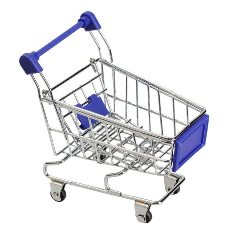 Mini Kundvagn Mini Supermarket Shopping Cart - Blå