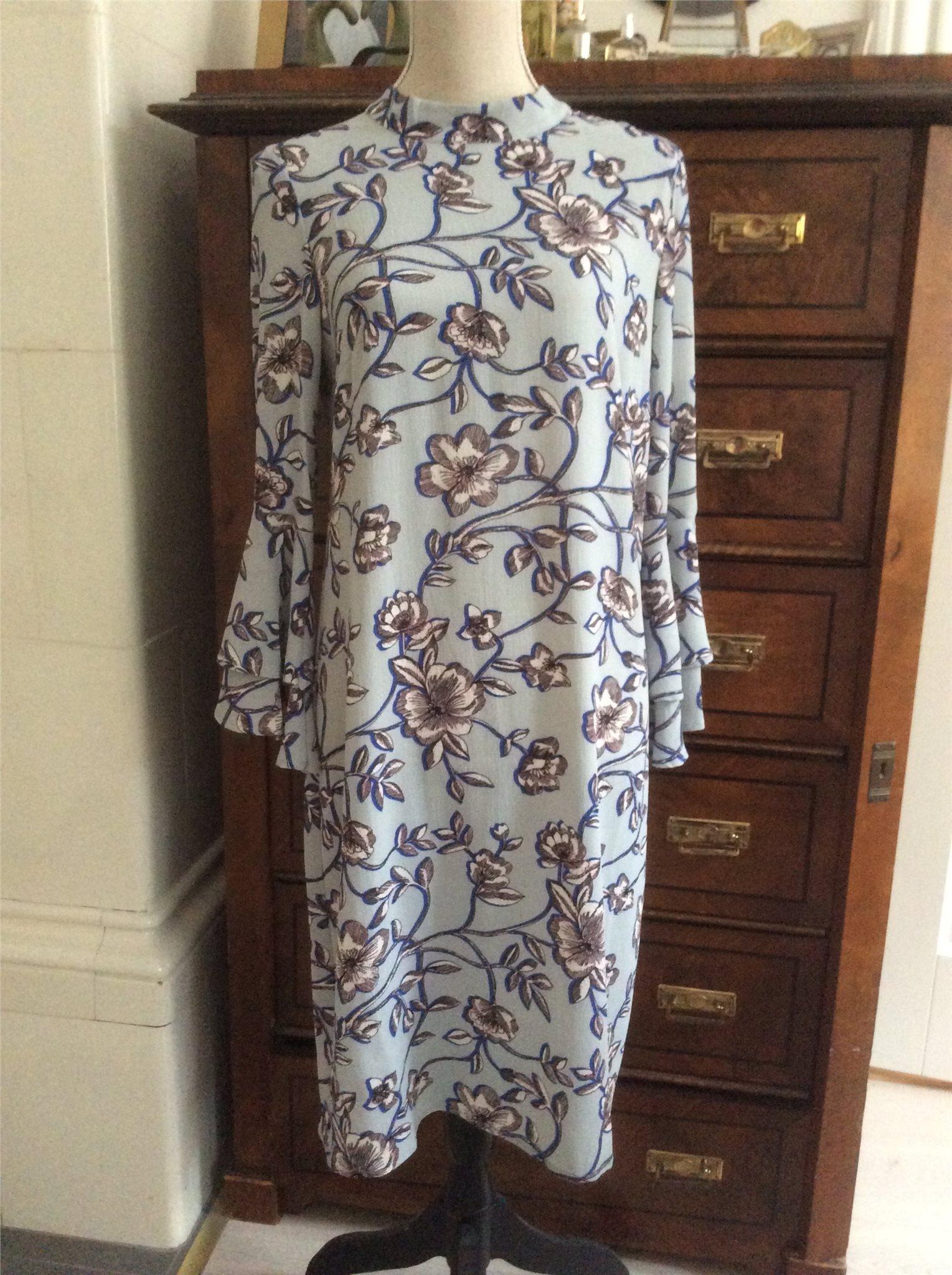 09556e24ad80 Indiska klänning,S, blommig crepe,blå,vit,brun,.. (342563851) ᐈ Köp ...