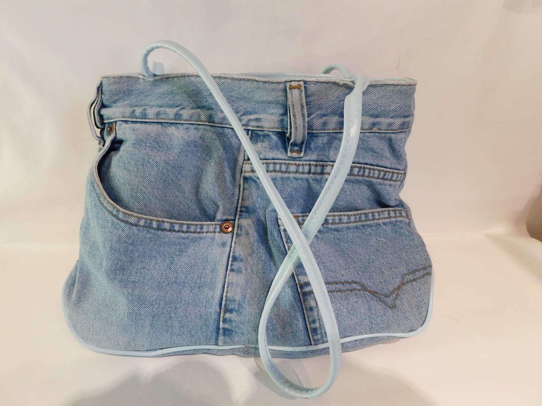 Hippie Fashion Jeans Väska från 70 Talet Hippie Boho Återbruket