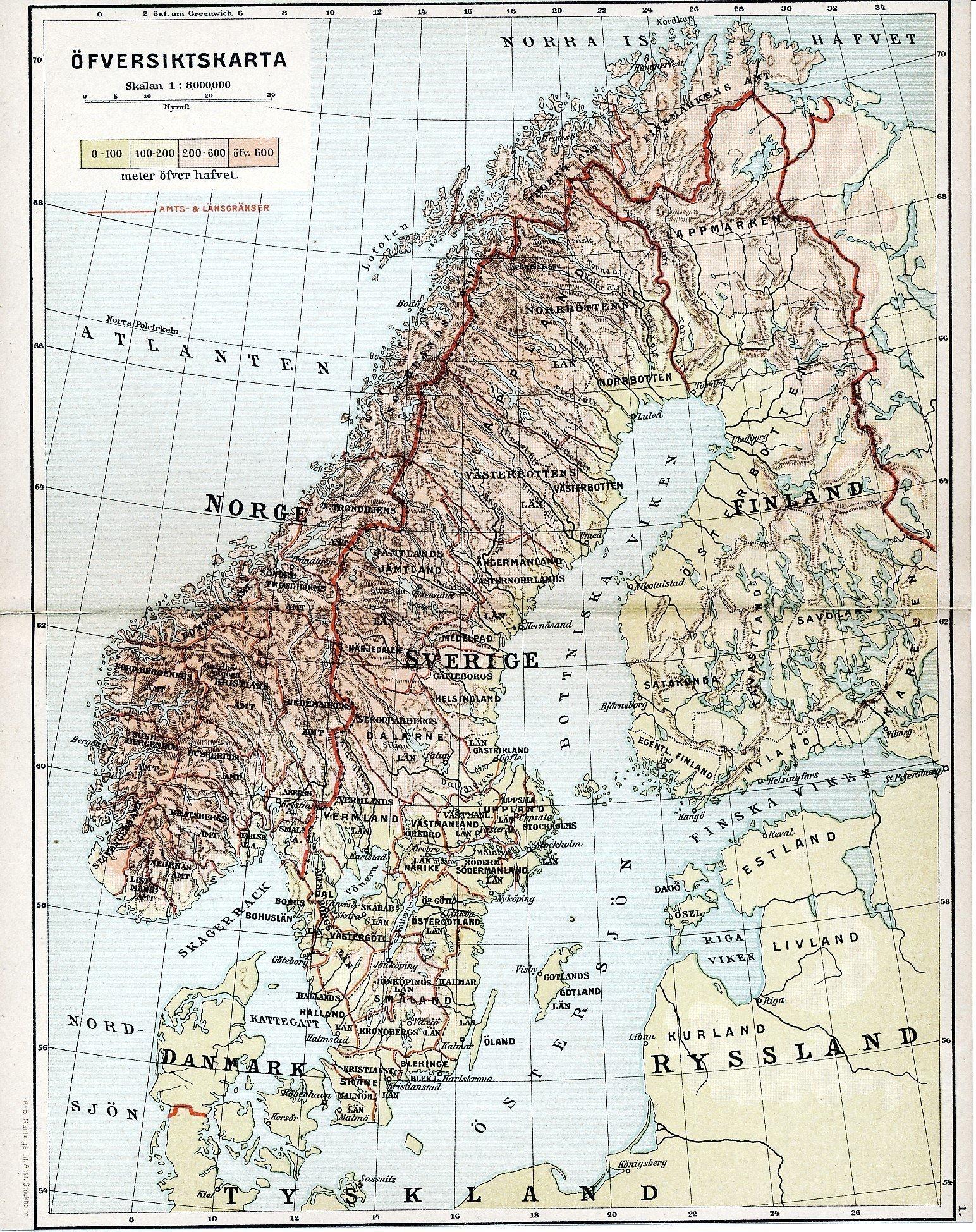 Ofversiktskarta Sverige Norge Finland Danmark 1 377753087 ᐈ