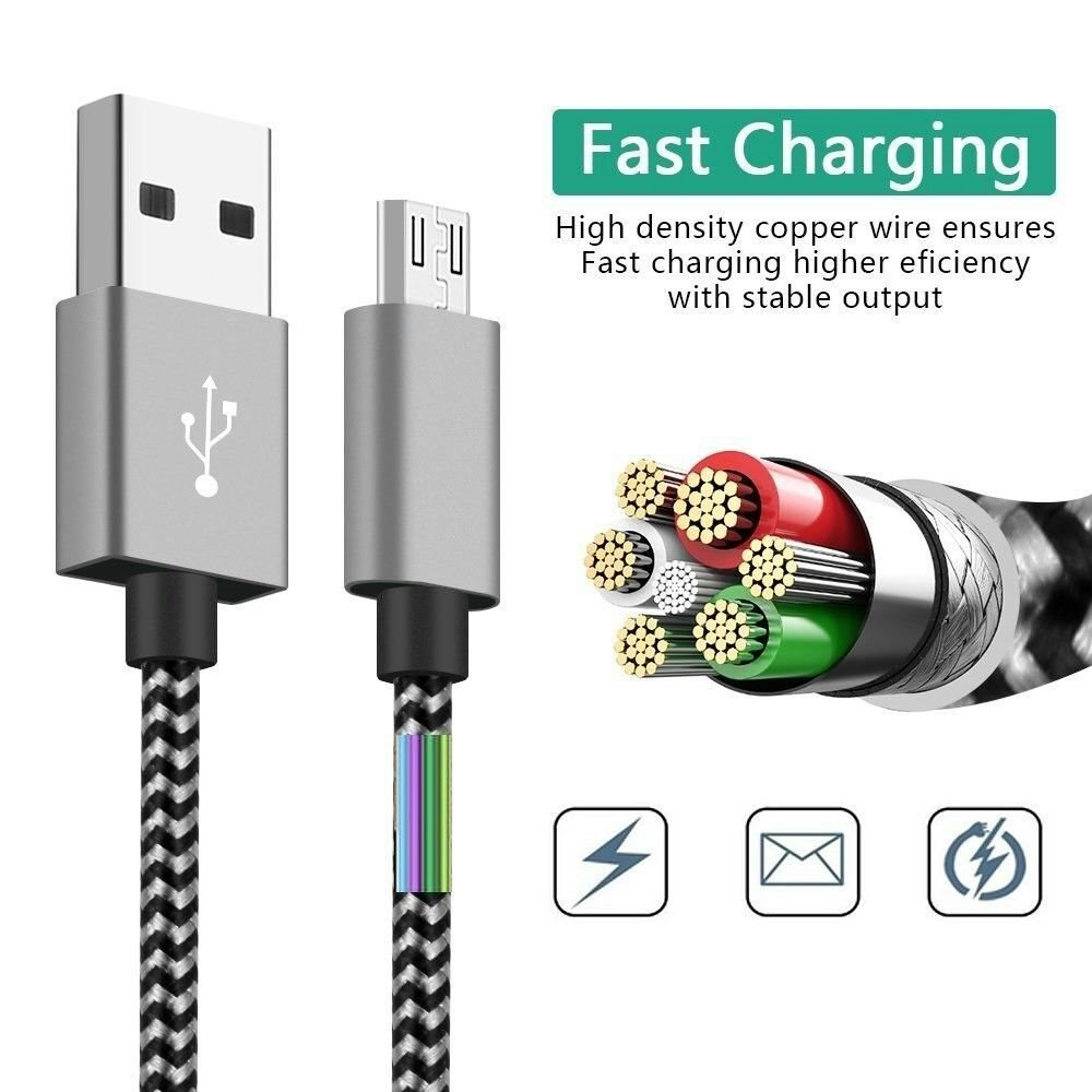 Premium 3st. Long 3 met Micro USB FAST Charger Cable for Samsung S5 S6 S7 Edge +