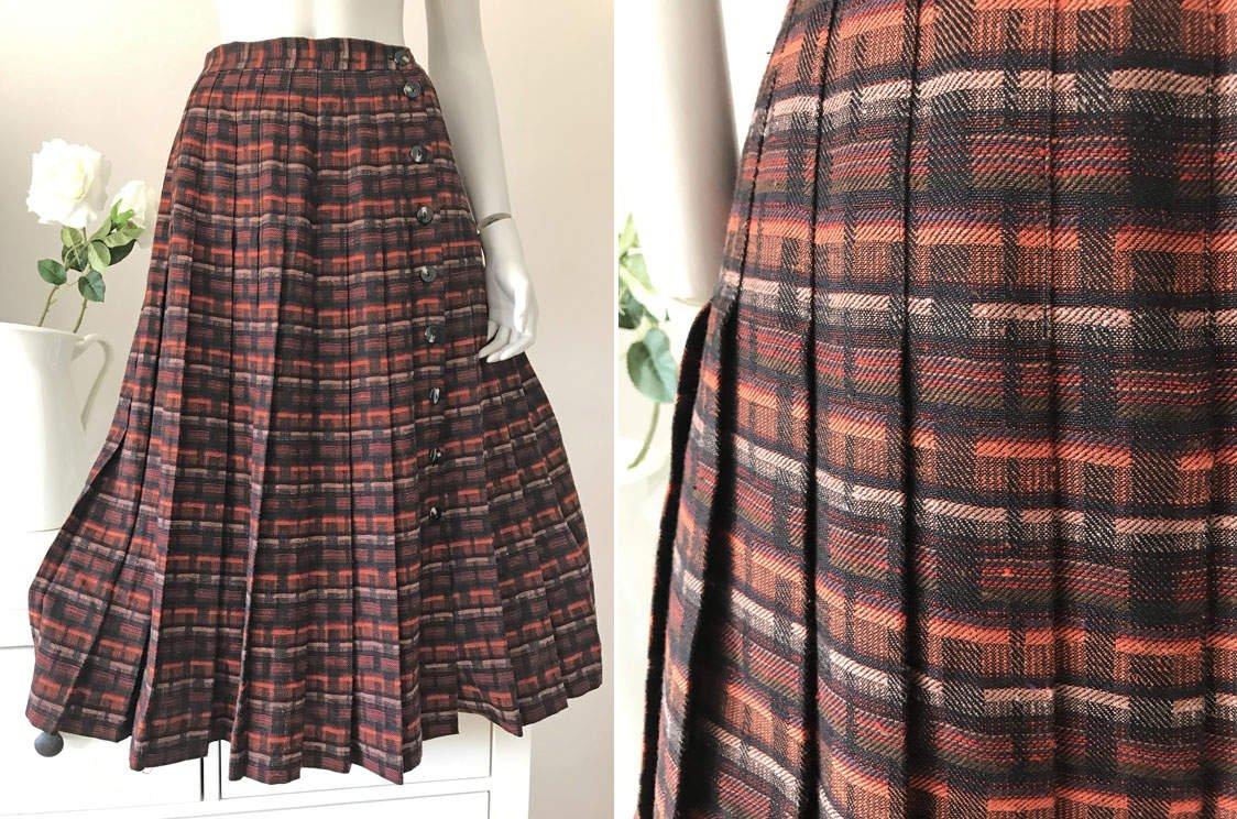 Midikjol vintage brun orange tartan kjol skotskrutig plisserad A linje retro 40