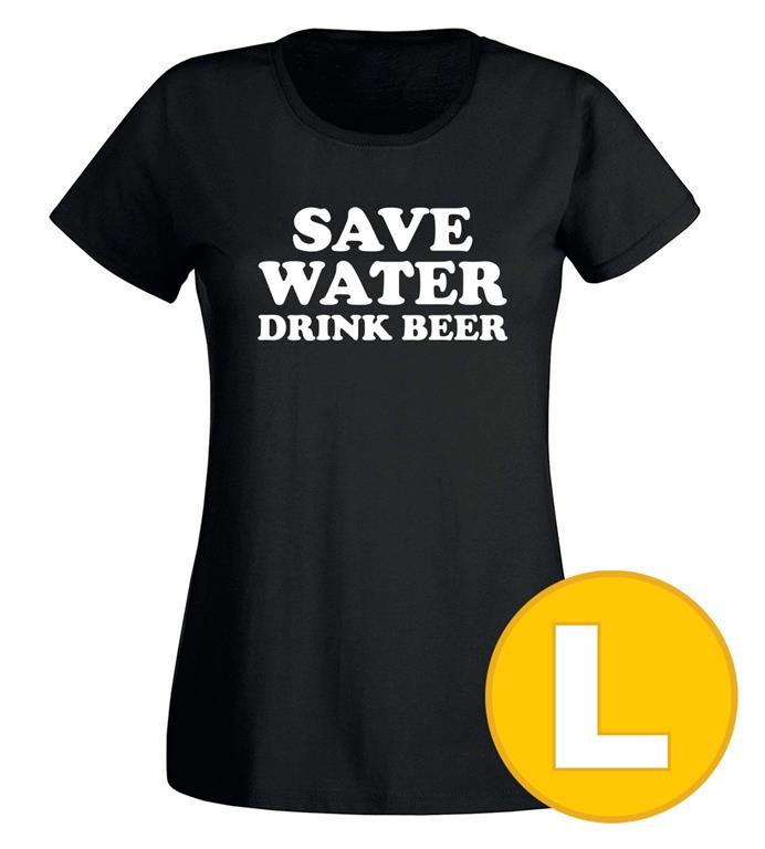 T-shirt Save Water Drink Beer Svart Dam tshirt L