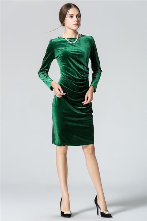 grön guld sammet långärmad sammet klänning Slim(M) på Tradera com