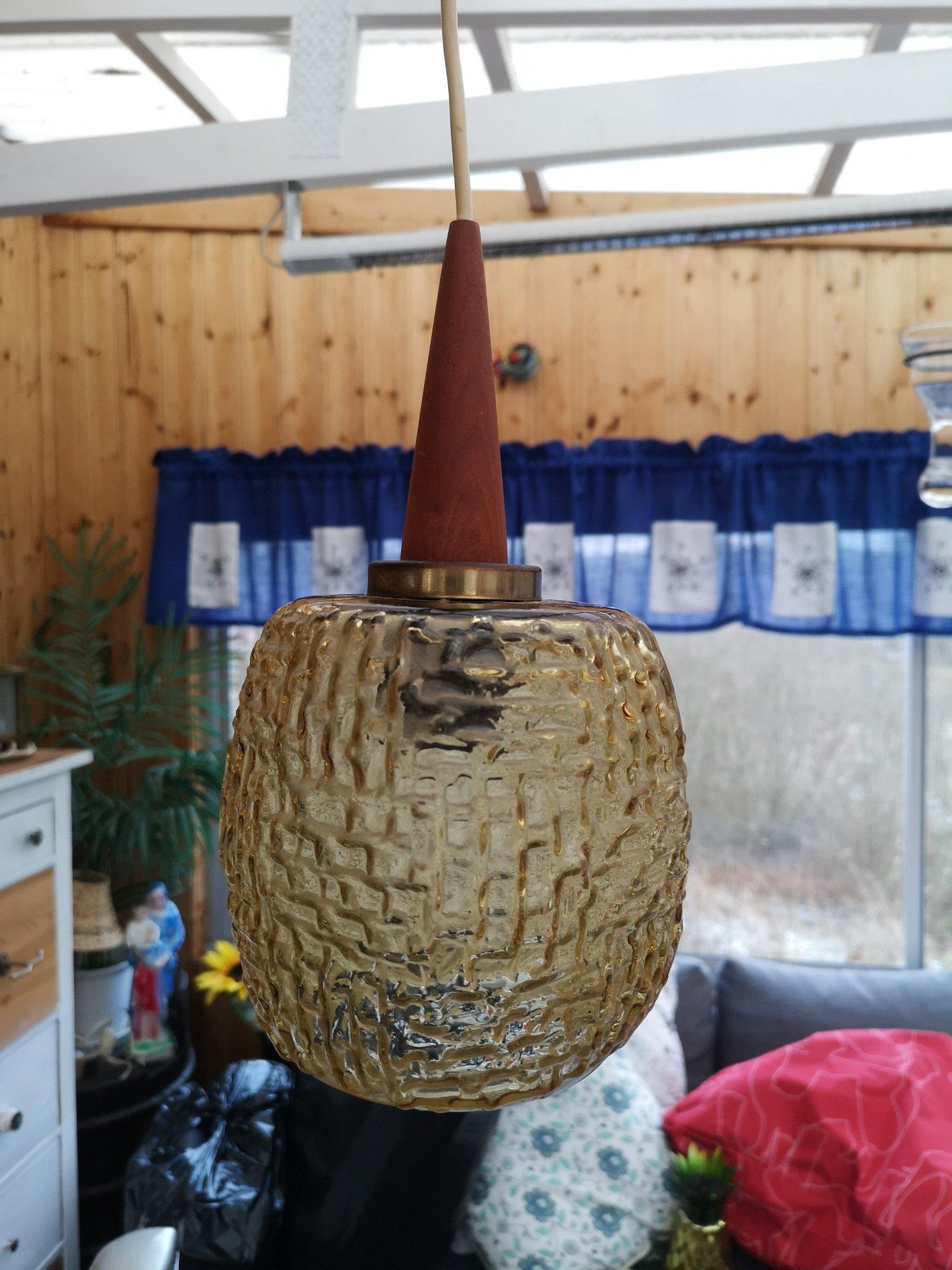 Retro Taklampa Lampa i glas & teak 1960 tal