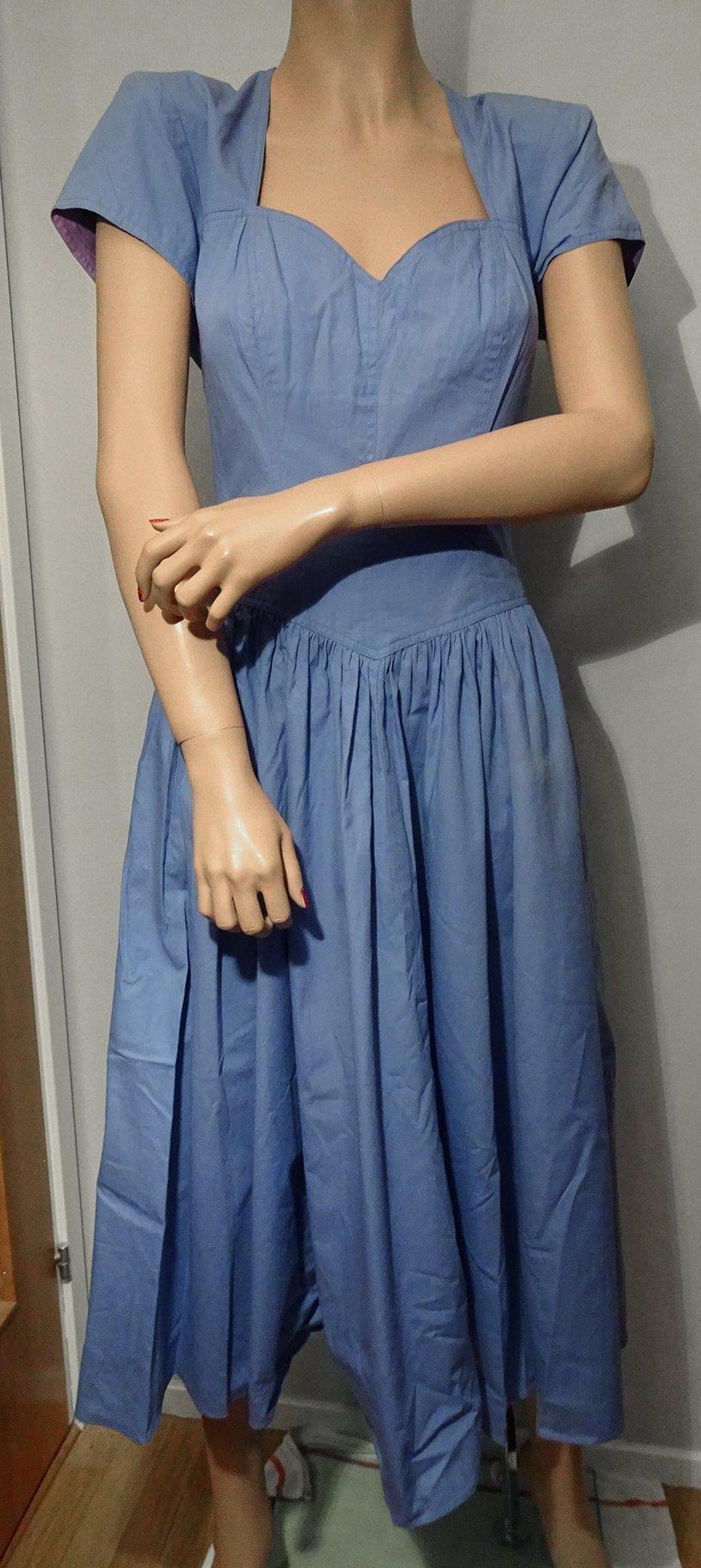 b48772488435 Vintage, ljusblå klänning med rosett bak, stl S (350344359) ᐈ Köp ...