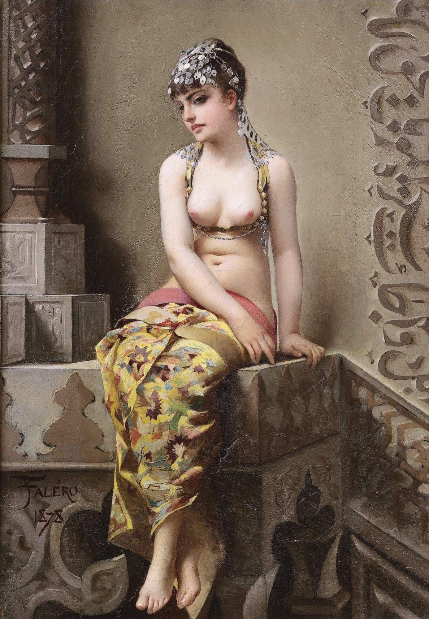 Naken Orientalisk Skonhet Av Falero Naket Exotisk Art Nouveau Jugend Duk