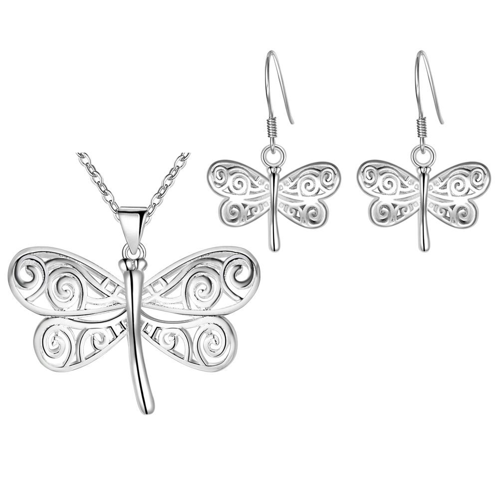 HELT NYTT!! 92018 New Fashion 925 SILVER Dragonfly Necklace Earrings Jewelry