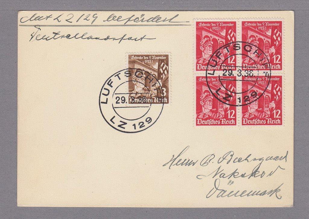 Tyskland. Zeppelinförsändelse 29/3 1936.