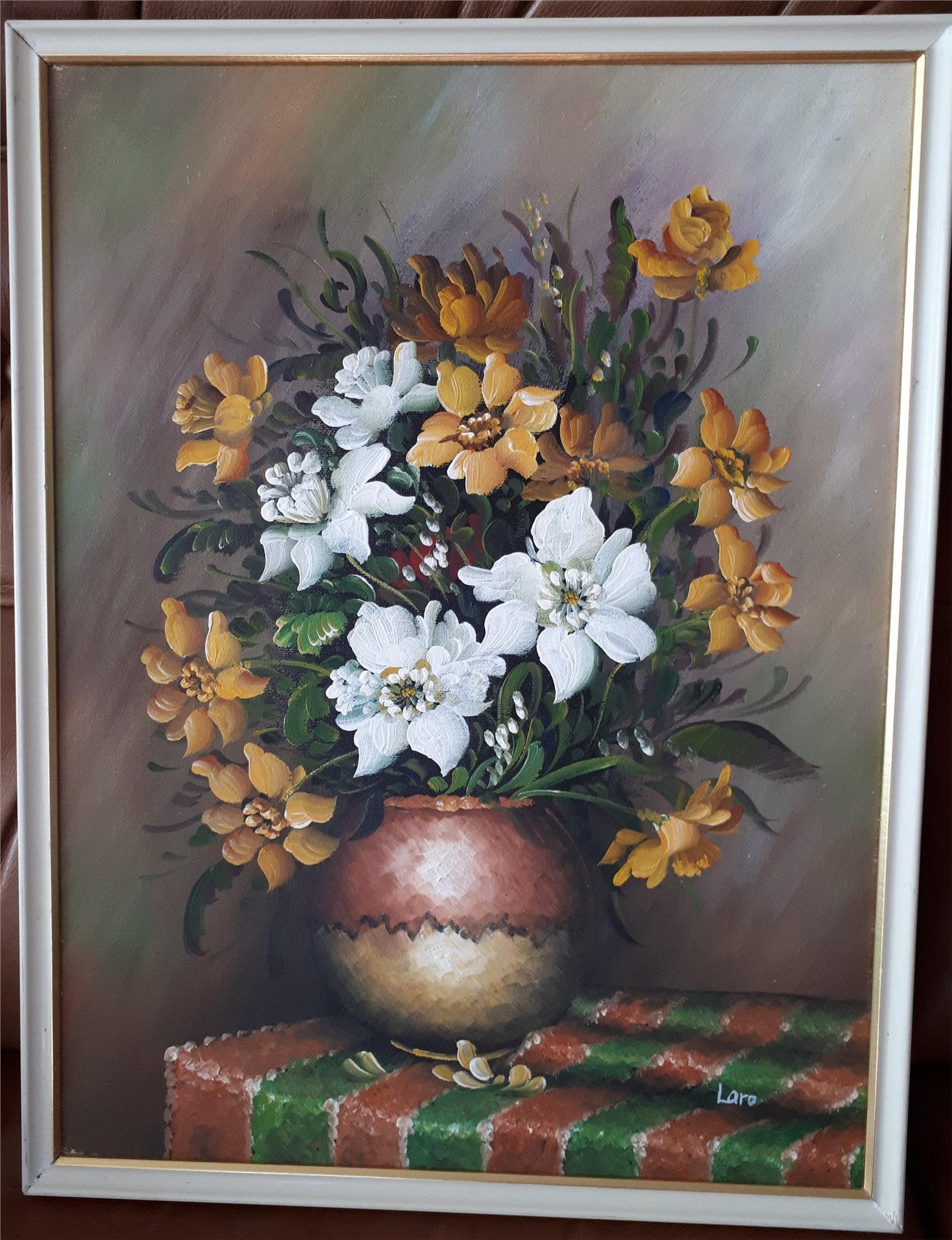 olja oljem lning duk signerad stilleben blommor 320293744 k p p tradera. Black Bedroom Furniture Sets. Home Design Ideas