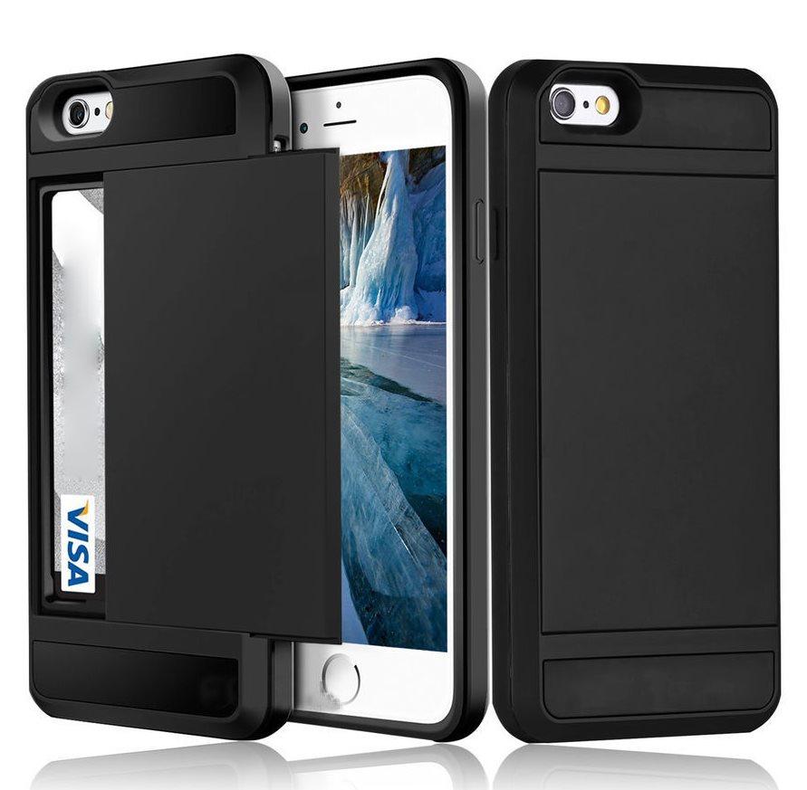 iPhone X - Korthållare Plånboksfodral Wallet Case Card Holder ShockProof -  Svart f24260232e526