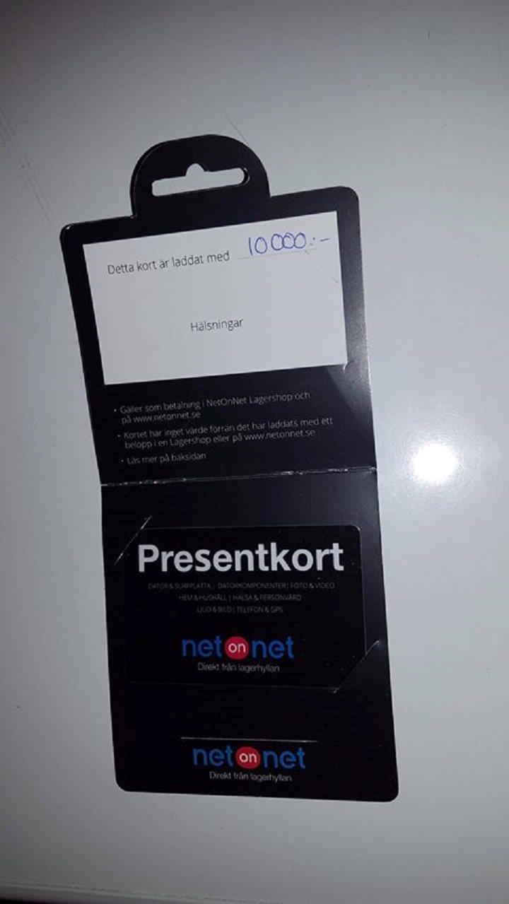 PRESENTKORT 10000 kr. NetOnNet c30bc998d9763