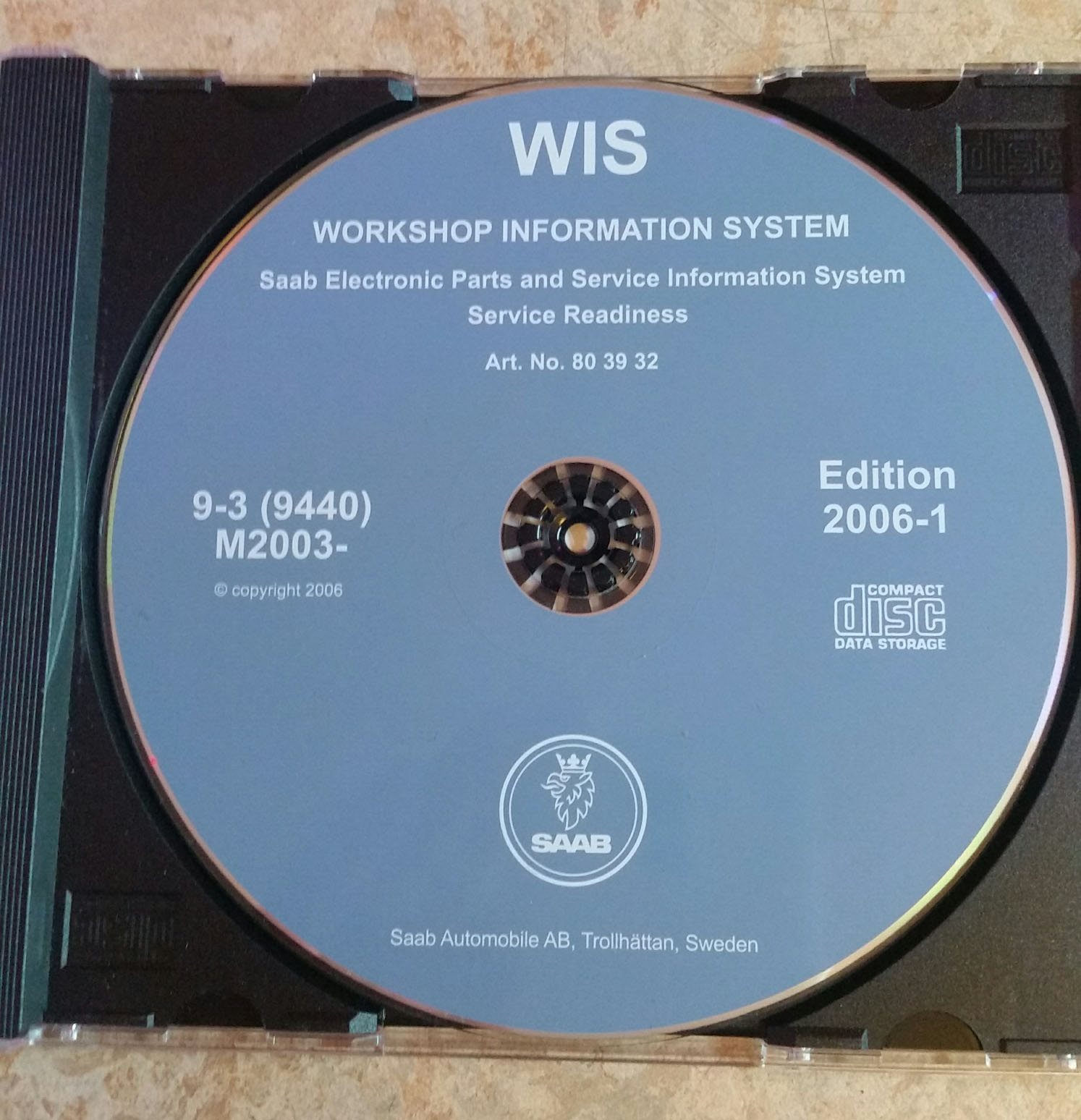 Original SAAB WIS CD-ROM för SAAB 9-3 (9440) (9440) (9440) årsmodell 2003> e86aac