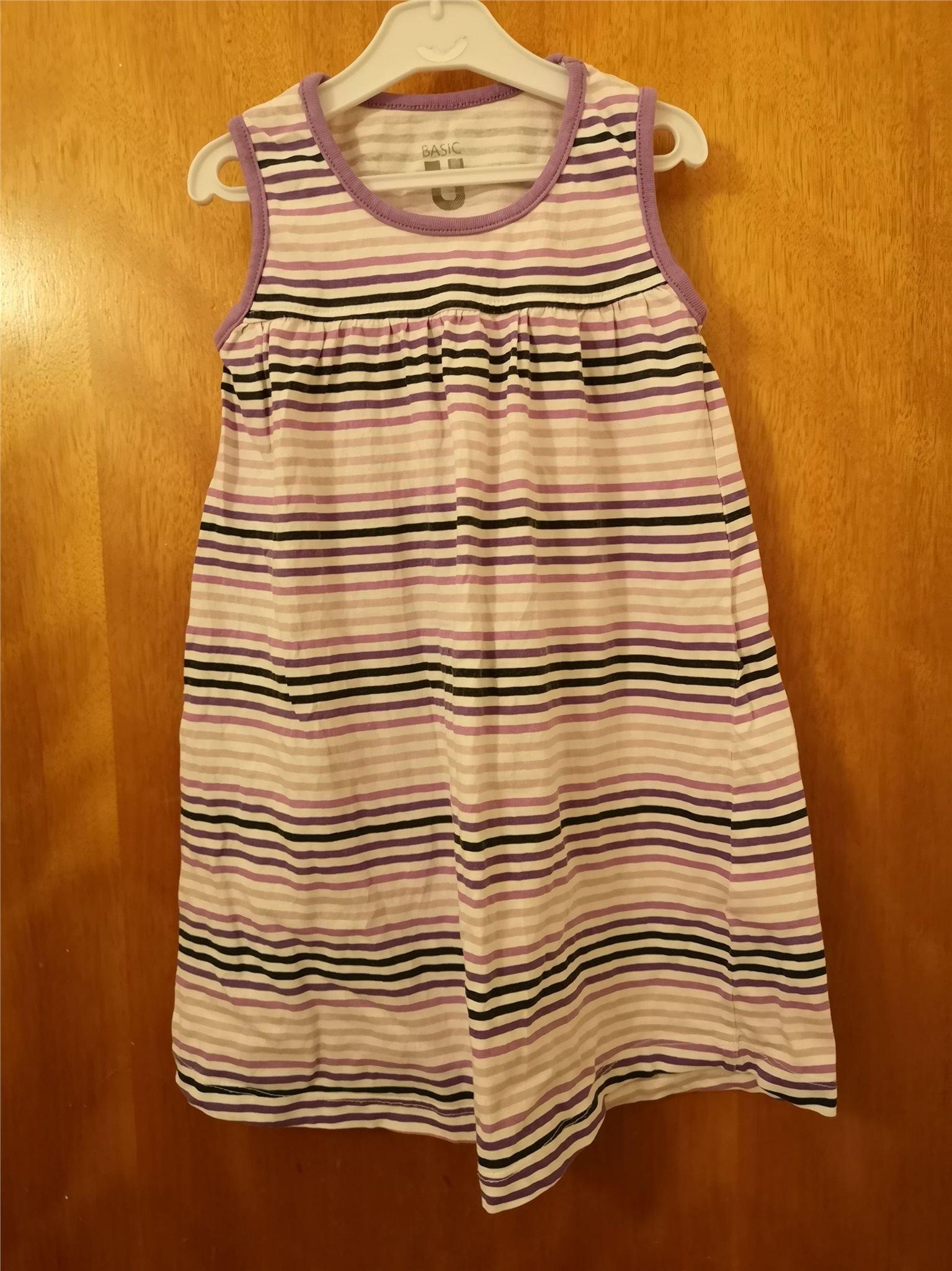 55e213fe1594 Lila randig klänning stl 92. (347712716) ᐈ Köp på Tradera