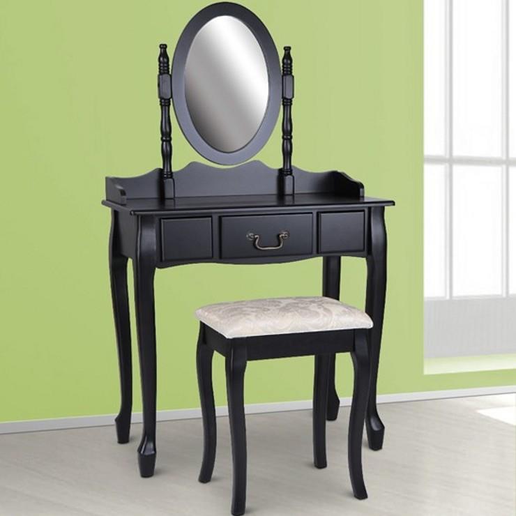 Sminkbord Med Låda Spegel Och Pall Antikstil Smink Ss5 Svart På