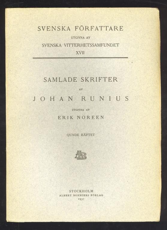 Samlade skrifter av Johan Johan Johan Runius. Första - tolfte häftet. 400b58