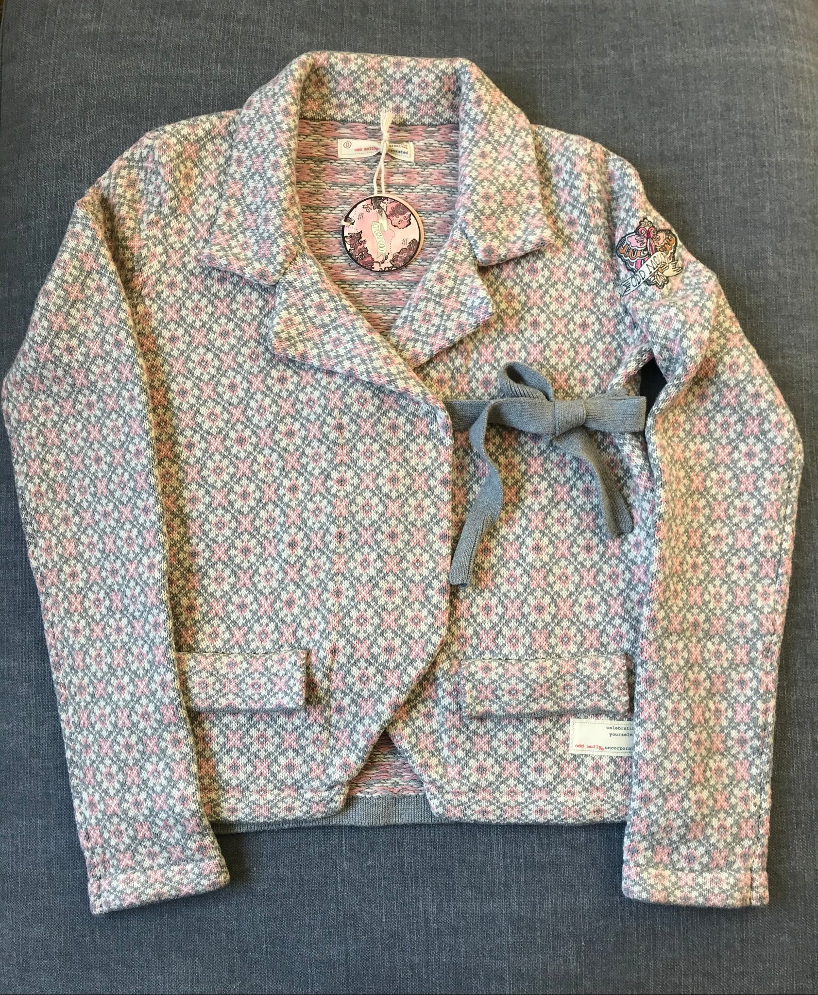 NY! ODD MOLLY kofta lovely knit jacket grå rosa storlek 0 / XS