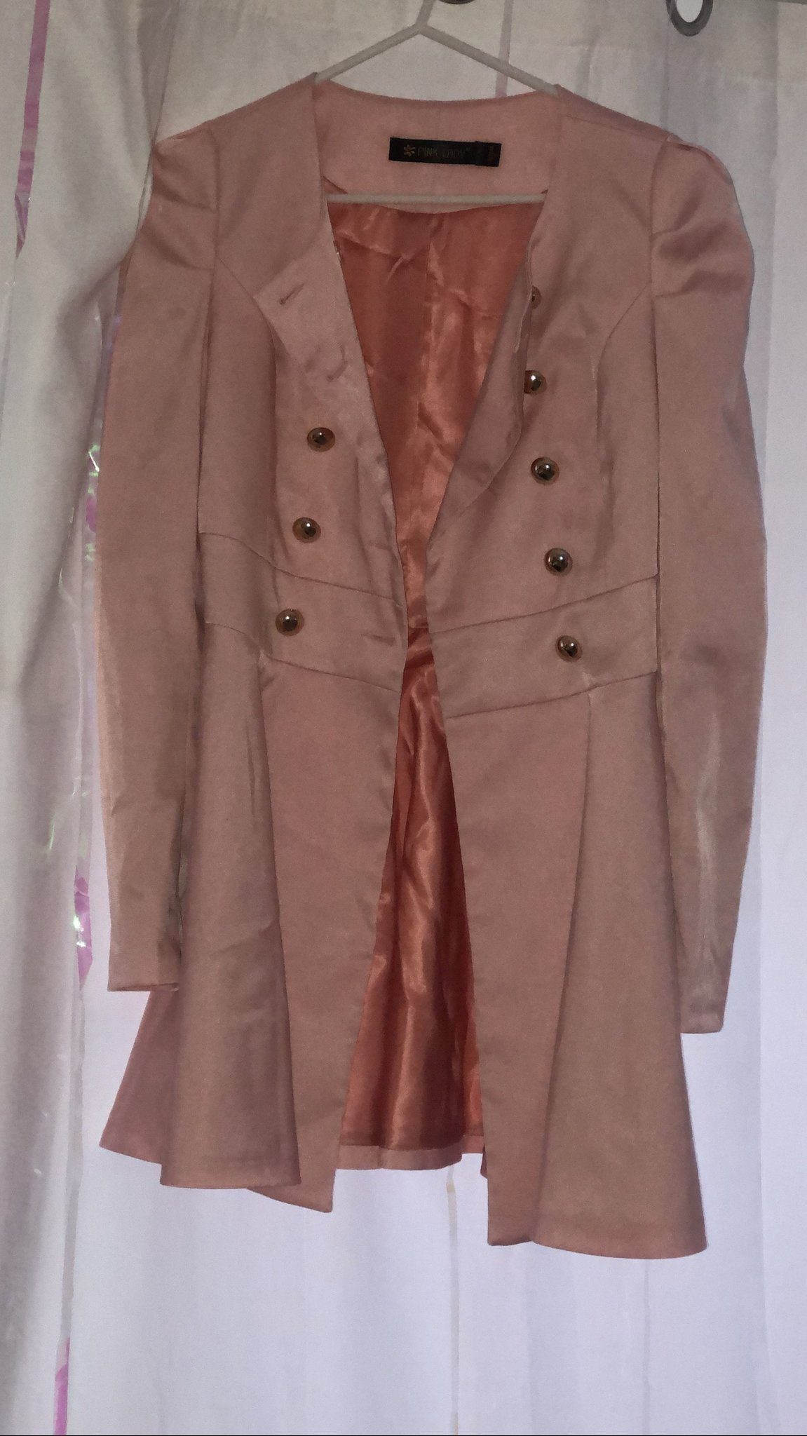 SHEINSIDE Pink Long Sleeve Double Breasted Flare Trench Coat Långärmad Rosa S NY