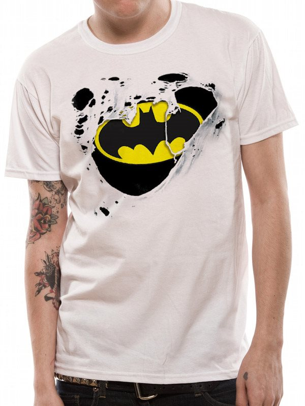 BATMAN - TORN LOGO (UNISEX) - Medium