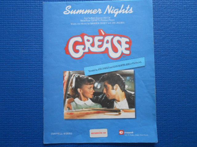 Notblad Summer Nights Grease recorded by John Travolta and Olivia Newton on RSO