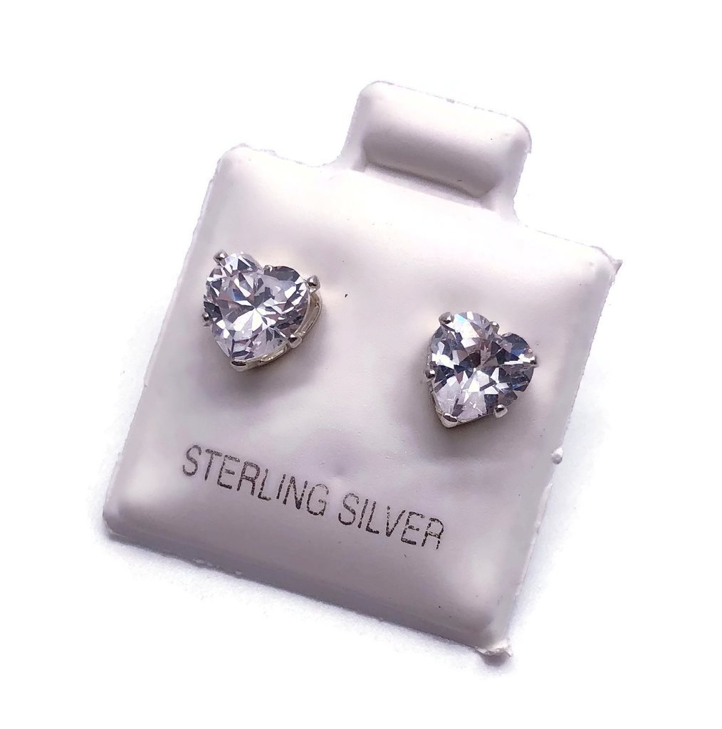 Hjärtan - CZ Cubic Zirconia örhängen studs stift äkta Sterling Silver 925 635aa855865d6