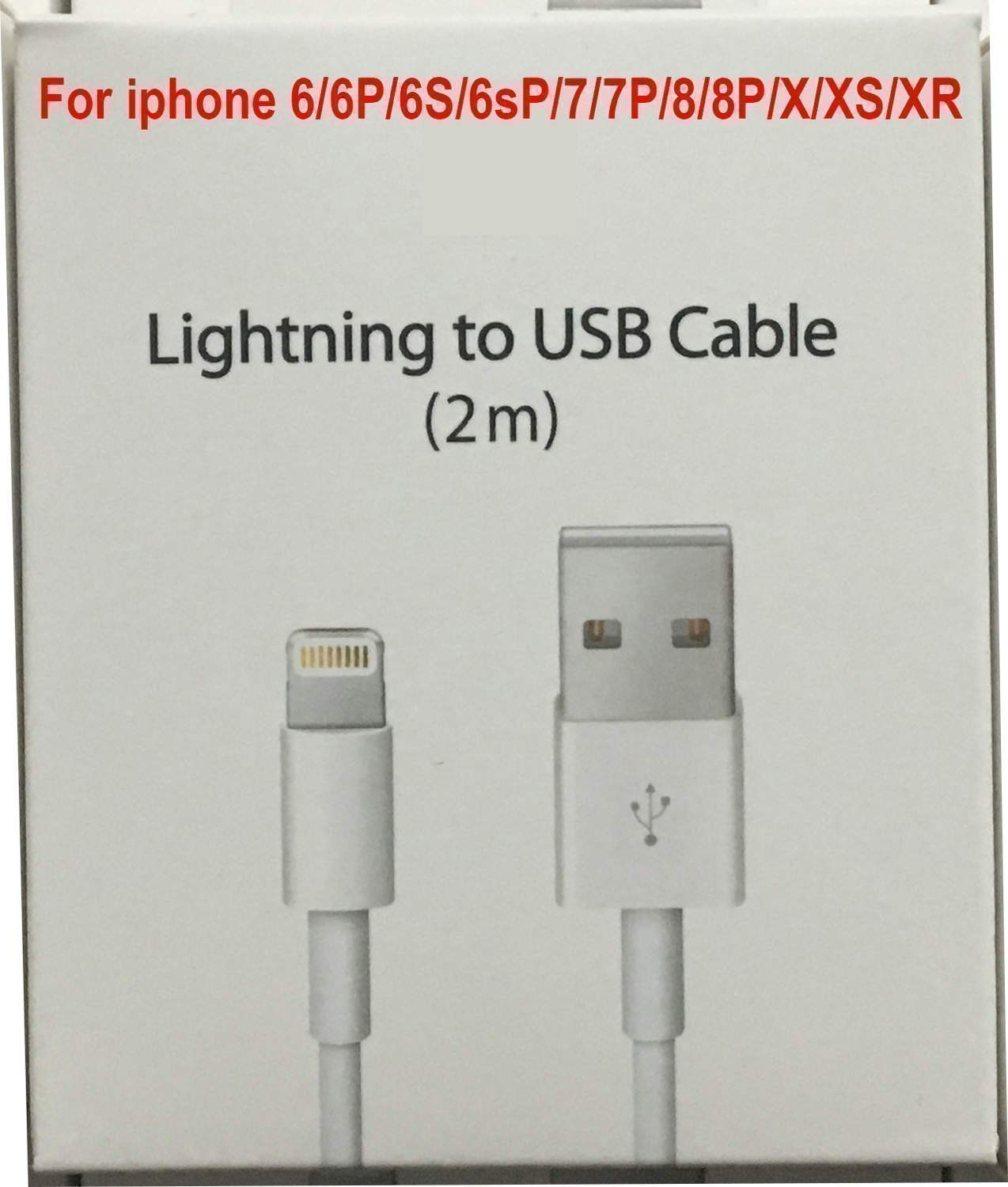 2m iPhone Laddare USB Kabel Cable till iPhone 55s6s6+77+88xxrxs