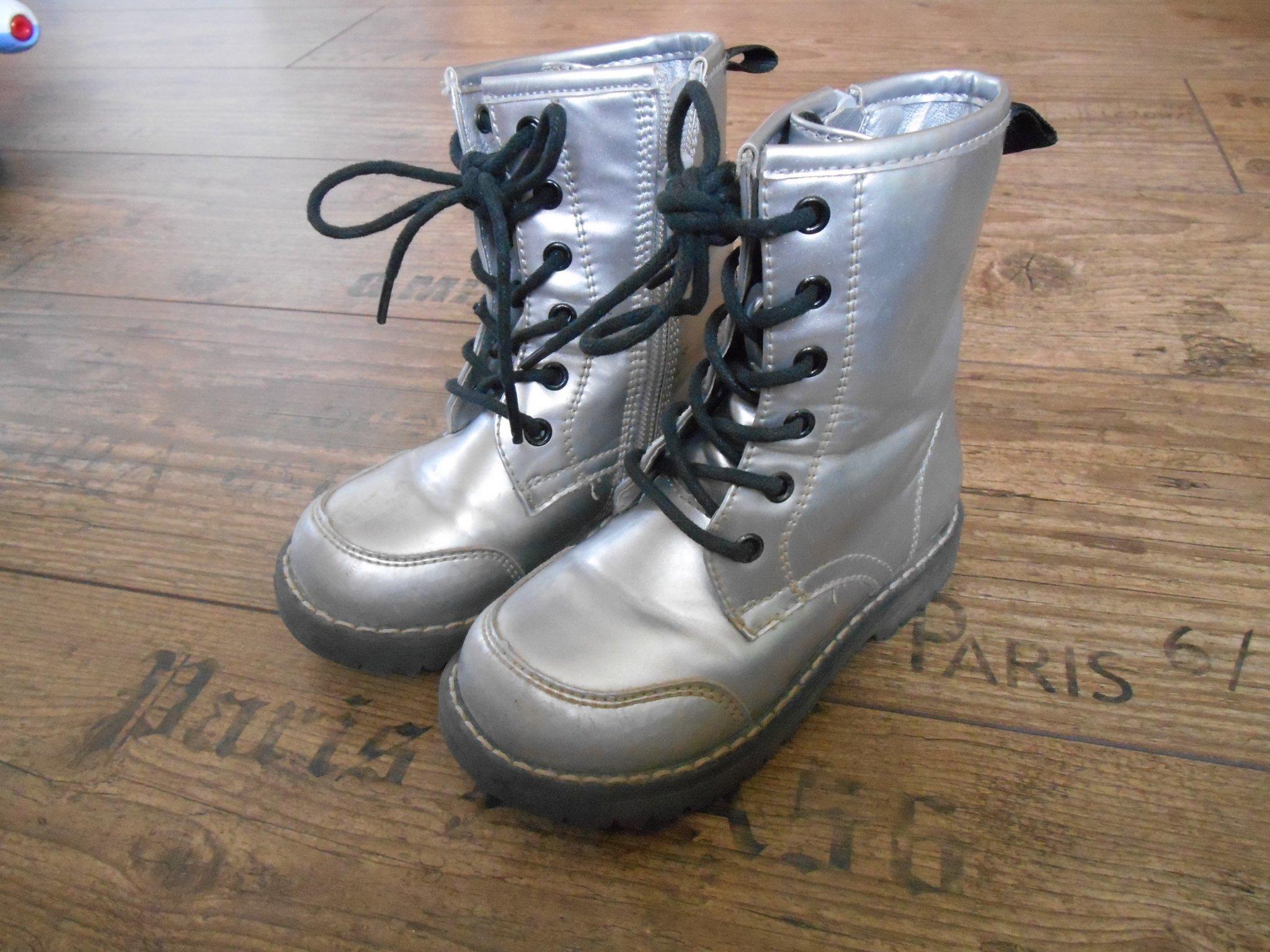 Strl. 26 Zoey skor kängor silver boots med drag.. (415197270