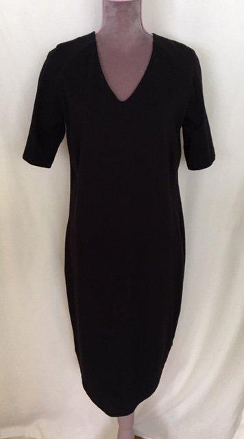 ab98ab874a0b Lindex trikåklänning lila svarta v-ringad rundad fåll trikå klänning M  38-40 ...