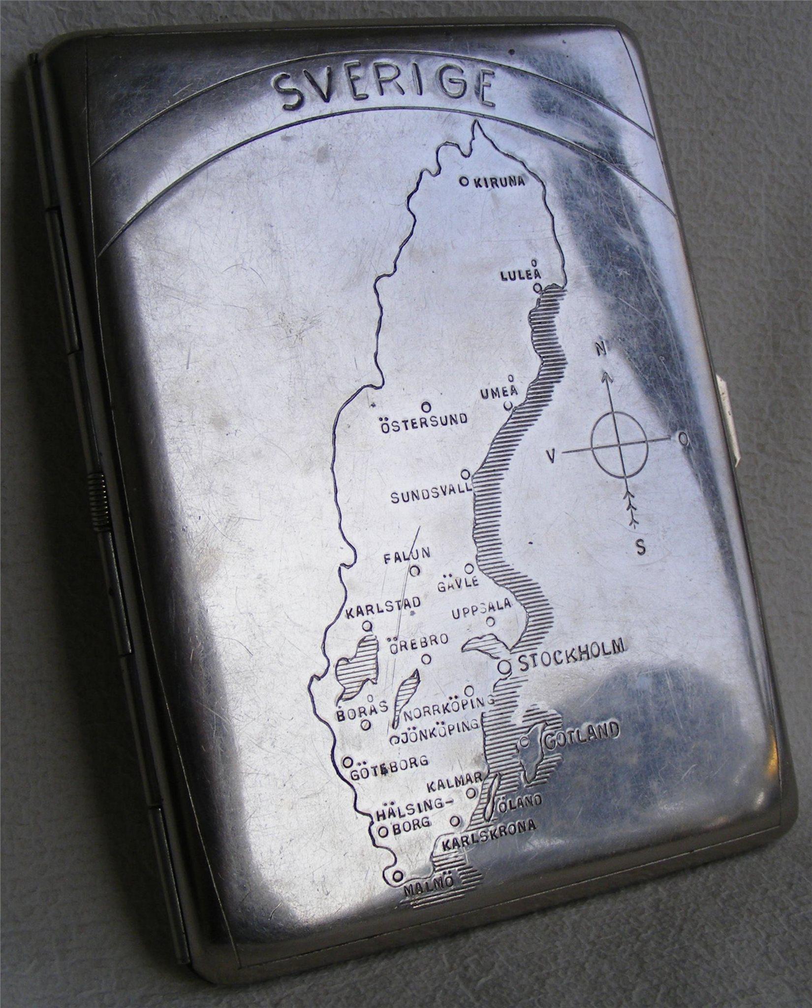 äldre Cigarettetui Med Sverigekarta I Rostfri P 343525289 ᐈ Köp