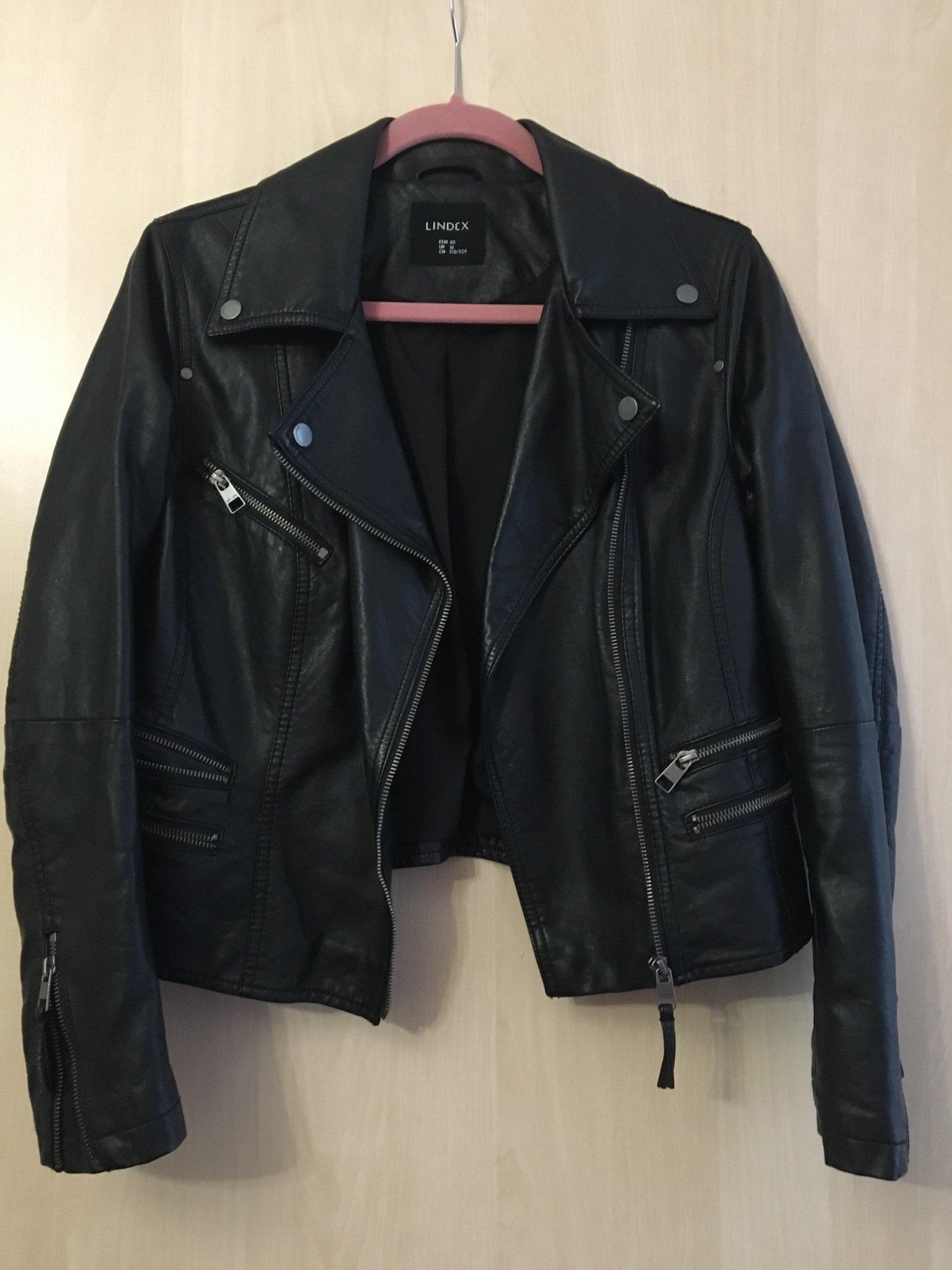 Lindex, skinnjacka i läderimitation, svart bikerjacka stl 40