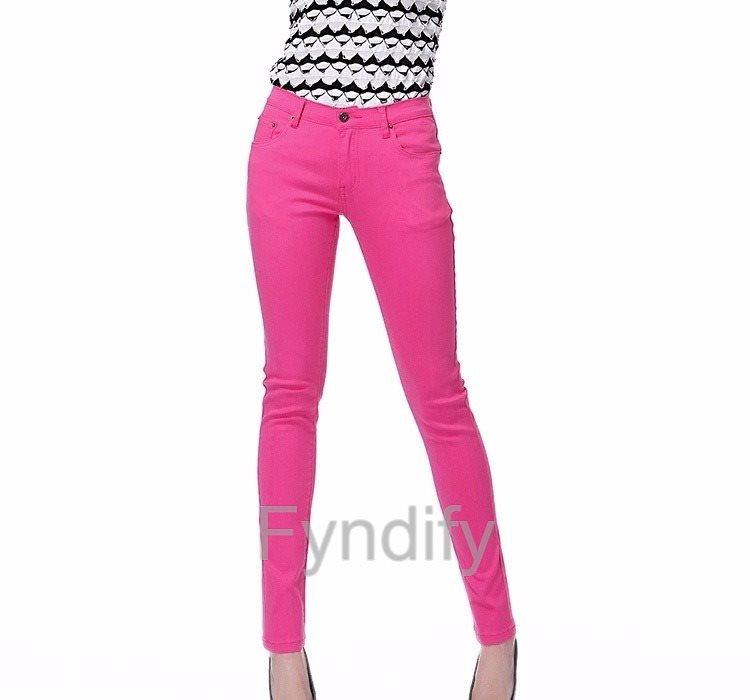 Skinny Jeans Stretch Pencil Pants Mörkrosa Strlk XL