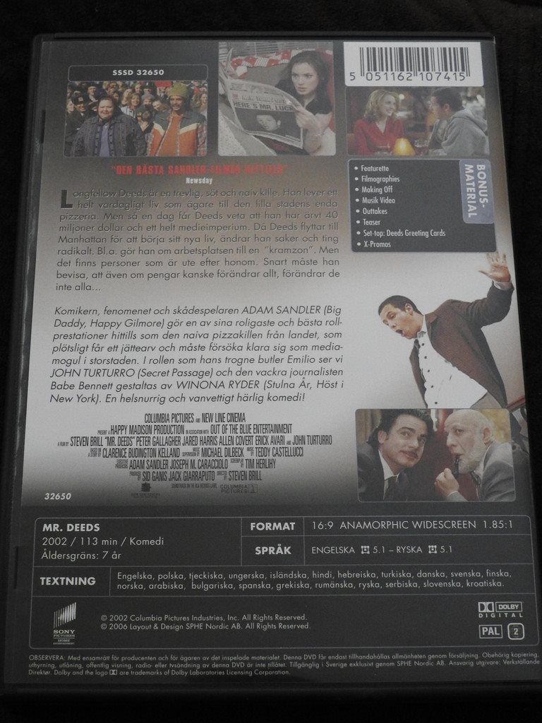 Mr Deeds Dvd Adam Sandlerwinona Ryder Ko 306820593 Kp P