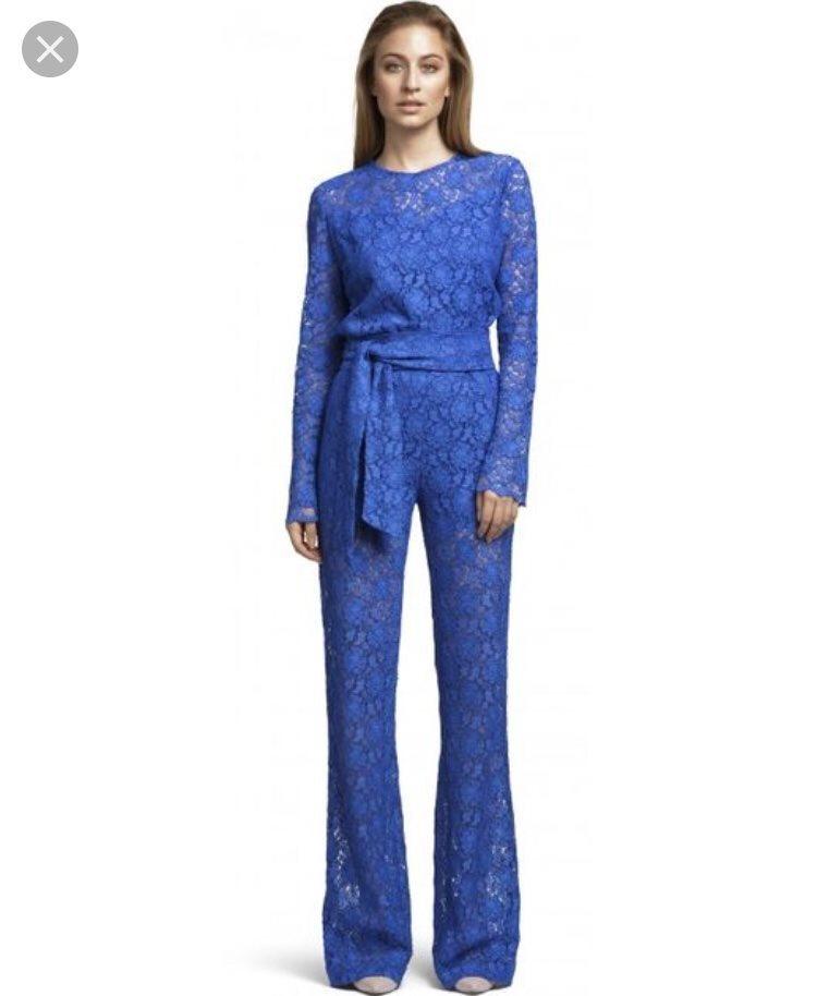TEOTOKI Jumpsuit/byxdress i blå spets