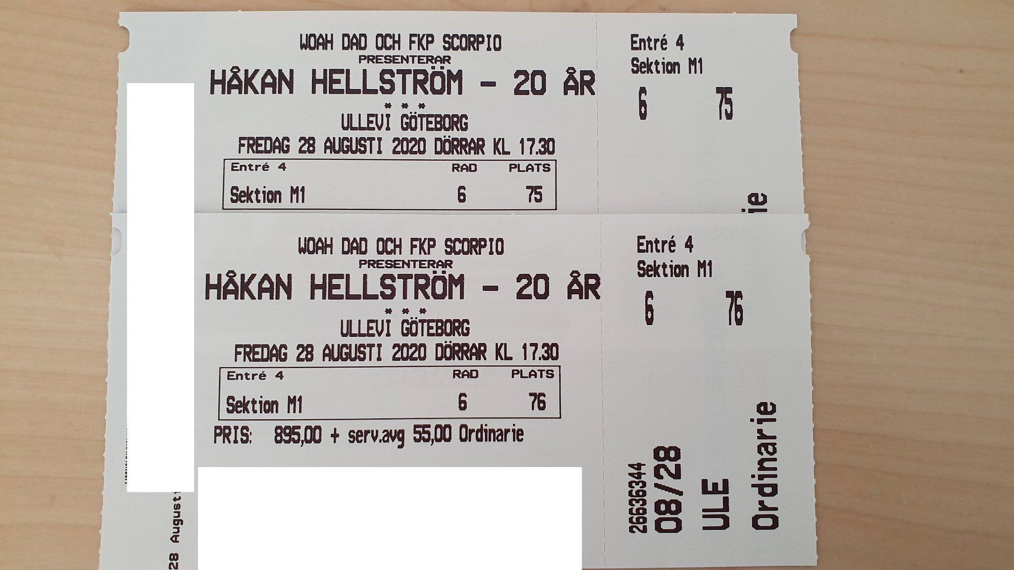 2 riktigt bra sittplatser till Håkan Hellström .. (363001739
