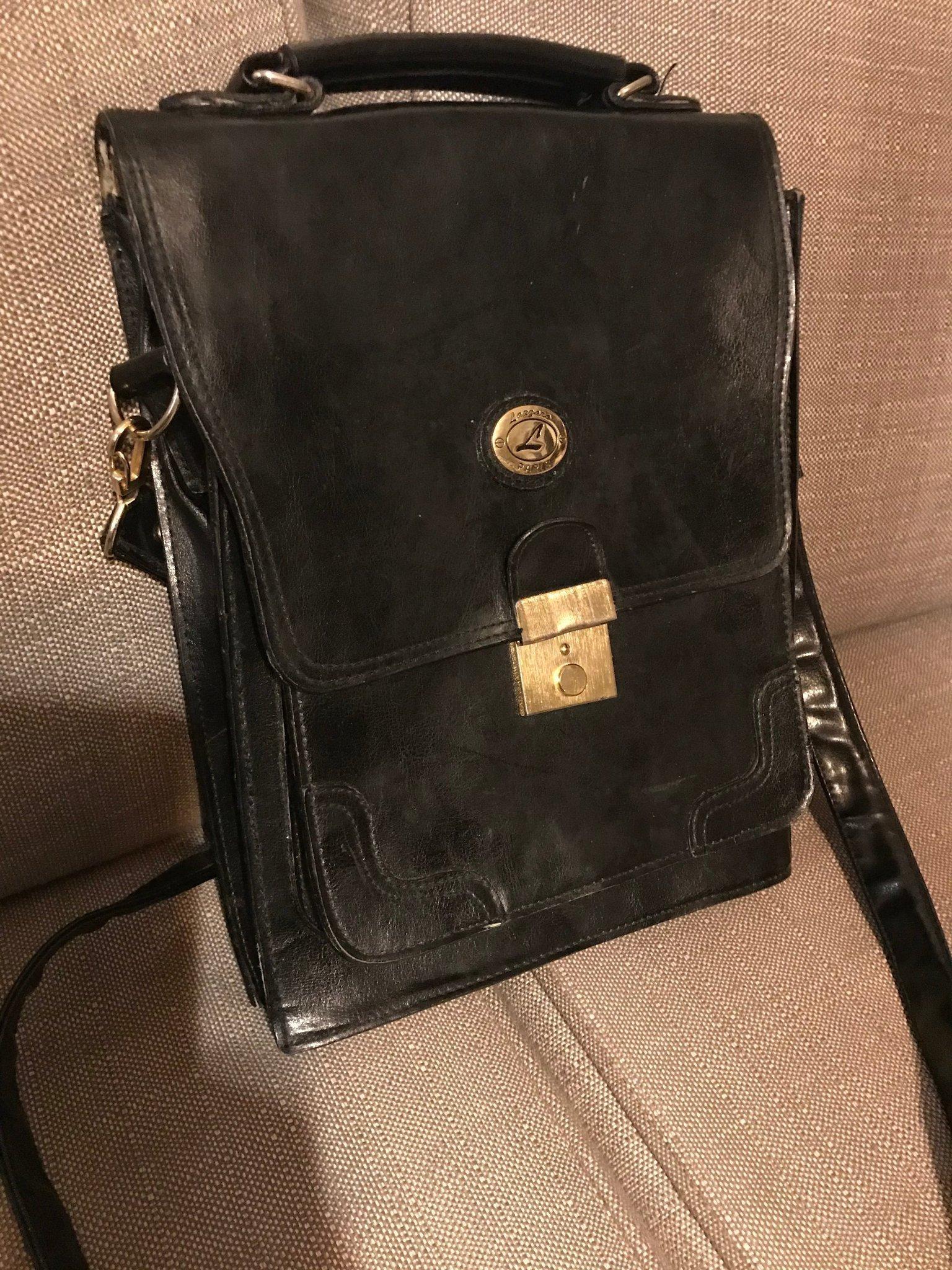 Äkta läder svart väska, retro