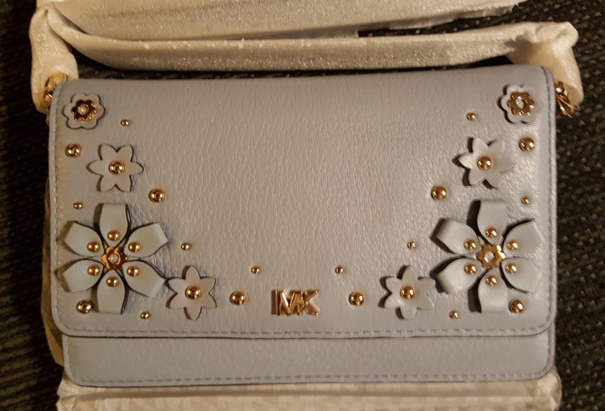 1500kr NY äkta Michael Kors ljusblå guld crossbody axelremsväska plånbok väska