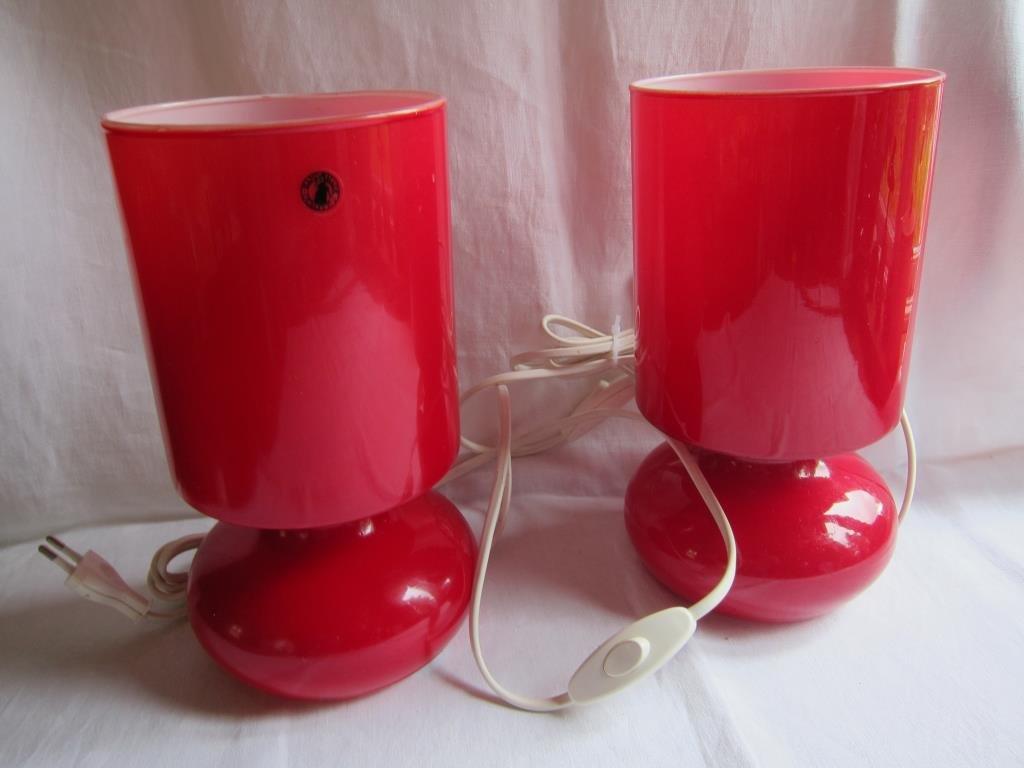 2 st IKEA röd lampa bordslampa LYKTAN glas rö.. (423196471