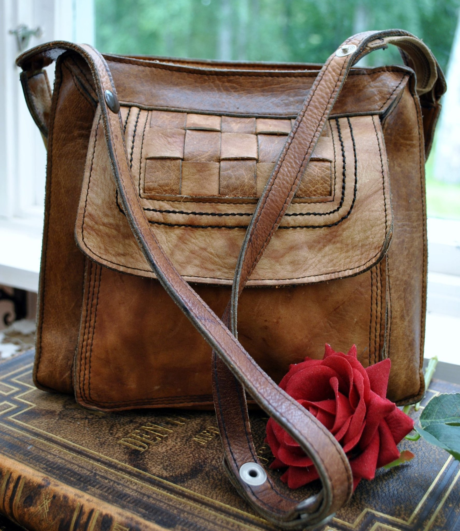 Retro vintage tidlös NORTH BAG made IN FINLAND väska axelremsväska i äkta läder