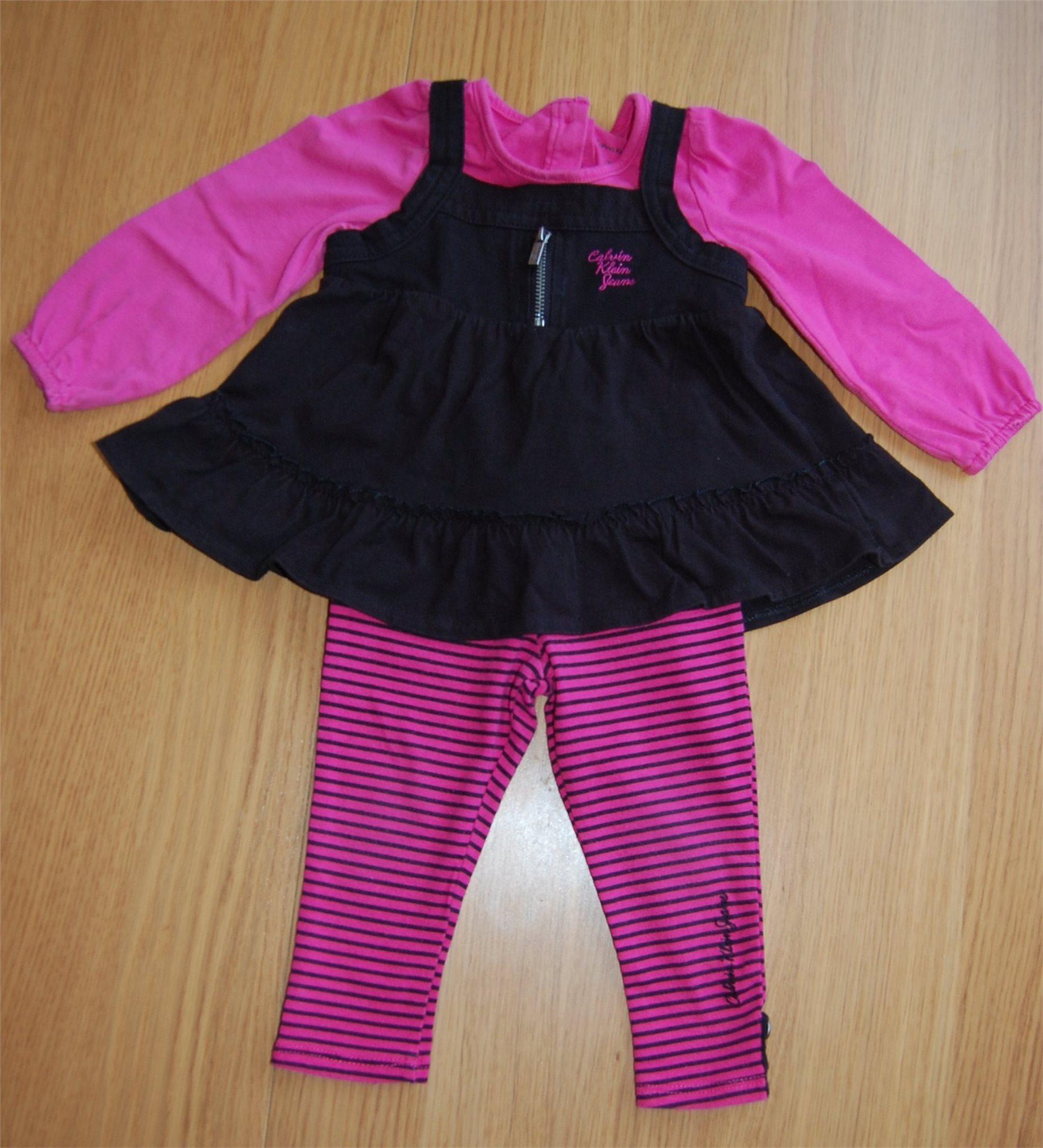 Calvin Klein Baby Girl Tunic & Pants Set Black Pink Size 18 months on