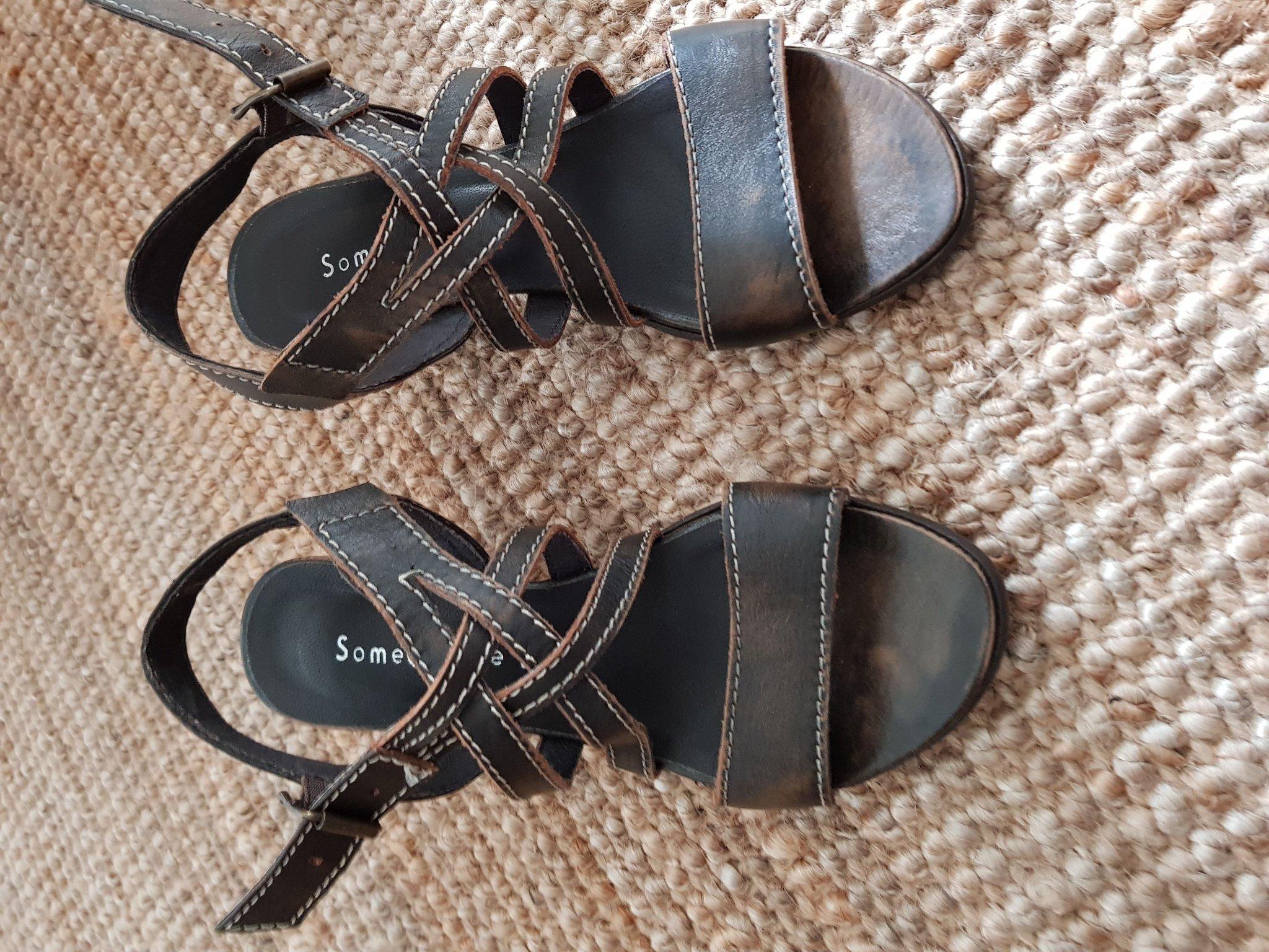 Sandal brun äkta skinn stl 37