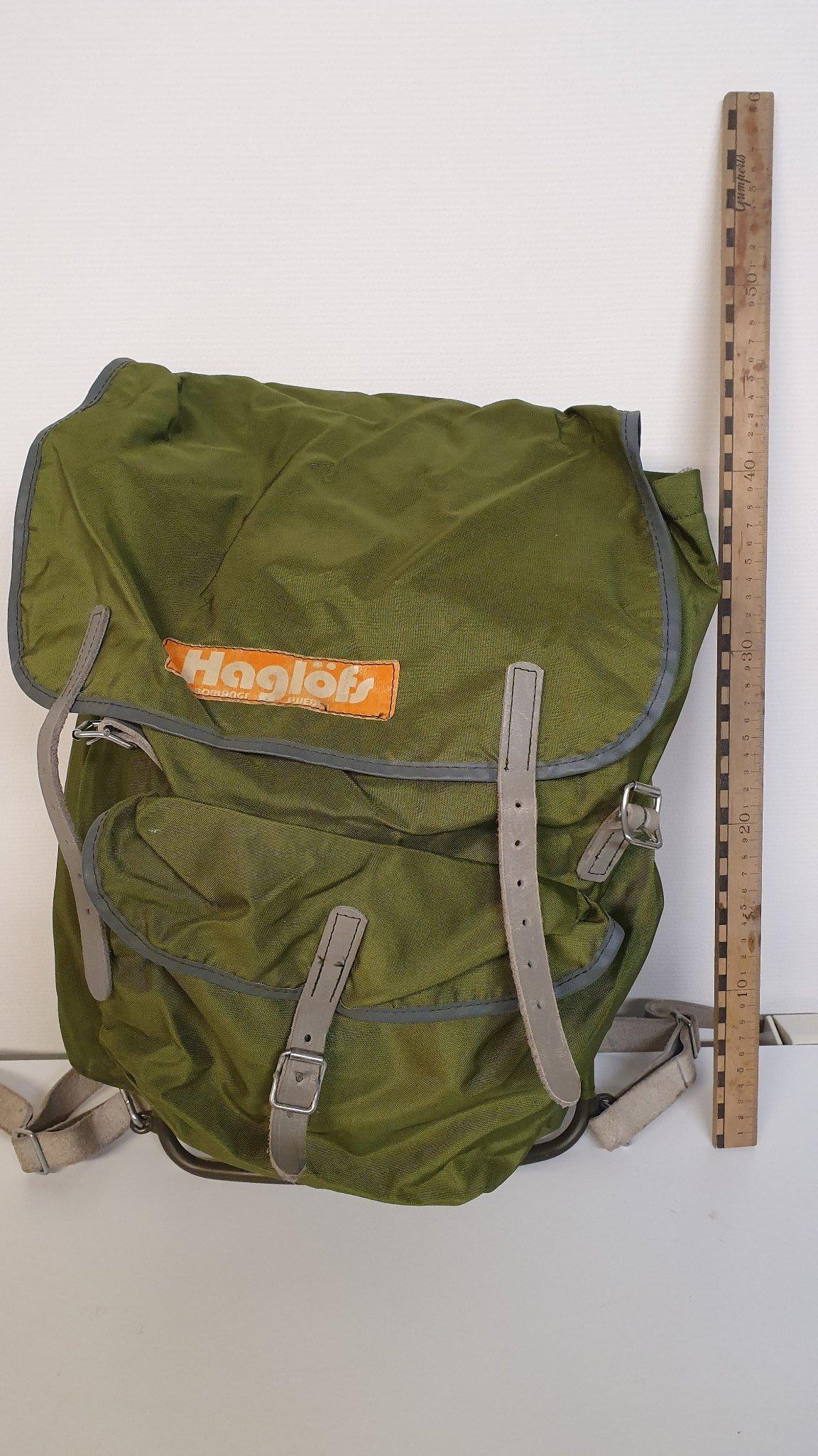 HAGLÖFS Retro Ryggsäck för Vandring mm Militärgrön med Aluminiumram o Läderrem