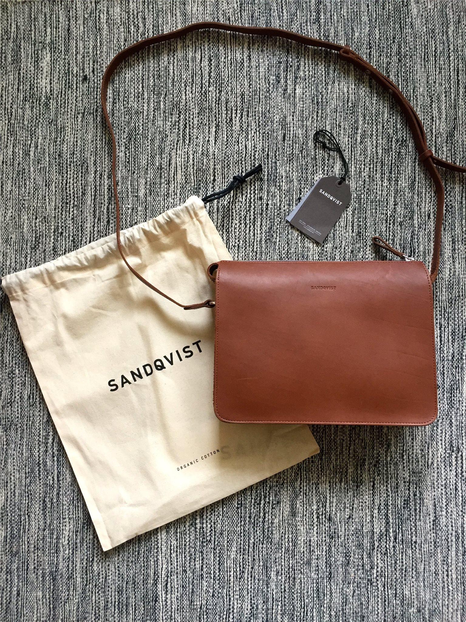Sandqvist Franka Cognac Brun väska handväska i läder/skinn.