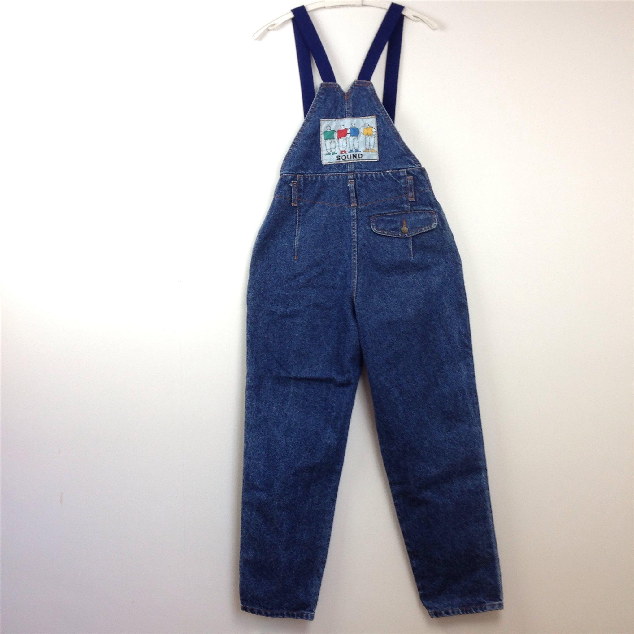 31e29e8a944 SOUND STONE WASH Jeans Hängselbyxor 80-tal 90-tal Vintage Retro Stentvätt  ...