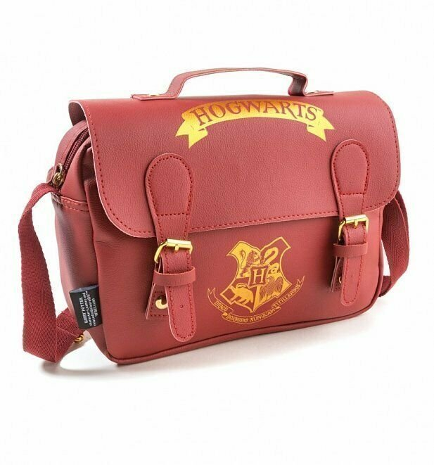 Officiell Burgundy Harry Potter Hogwarts Satchel Axelväska Lunch Väska PU Lader