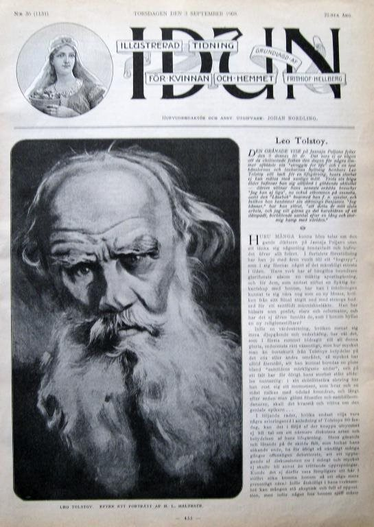 Idun 1908-36 Leo Tolstoy Stort Bildreportage
