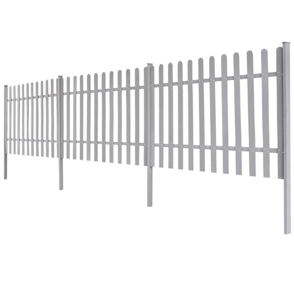 vidaXL WPC staket med stolpar 3 st 6 m lÃ¥ng 120 cm hög grÃ¥ pÃ¥ : höjd på staket : Staket